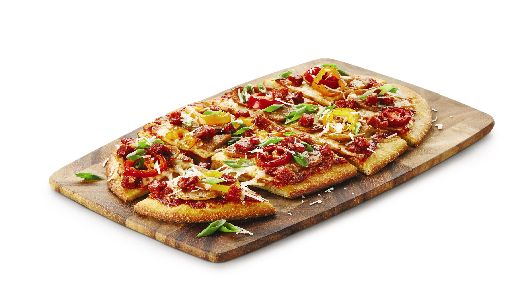 Spicy Italian FlatbreadSpicy arrabbiata pizza sauce, pizza mozzarella, pepperoni and spicy Italian sausage, red peppers and banana peppers on our flatbread. Finished with green onions and freshly grated Parmesan.