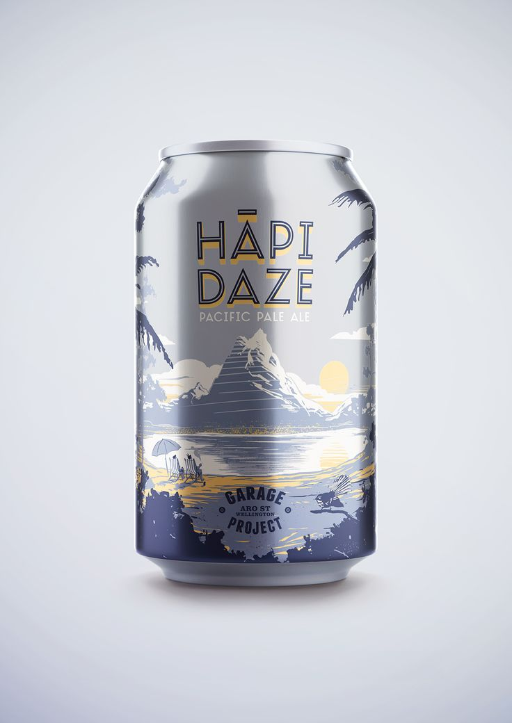 Beer Can / HĀPI DAZE ----- A render by Andrew Martis of the finished beer can design. Please Repin, or click this link to see more images from this project > http://www.flyingwhities.com/327640/4349642/recent-work/beer-can-hapi-daze