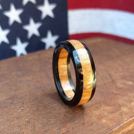 Ebony Wood Ring - Olivewood ring - Wooden Ring -  Wood Anniversary - Gift- Men's ring - Woman's ring