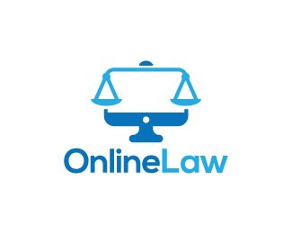 Online Law Logo design - Logo design of a computer monitor shaped like legal scales.  Price $260.00