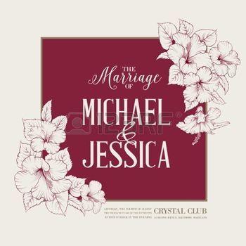 Házasság design sablon egyedi nevét szögletes keret egzotikus virágok. Vektoros illusztráció. photo