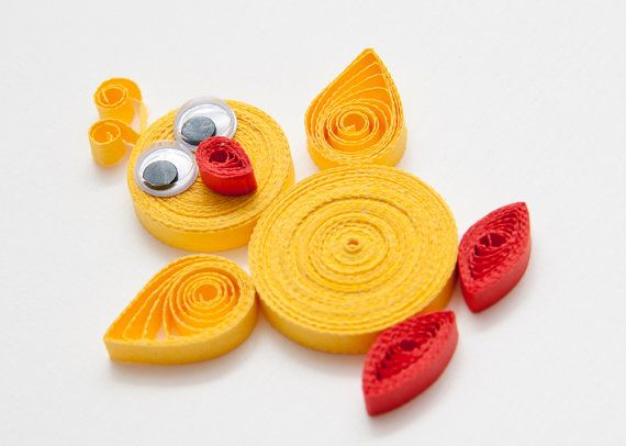 Funny Easter Card Quilling  - Quilled Easter Chick on Etsy, $7.80