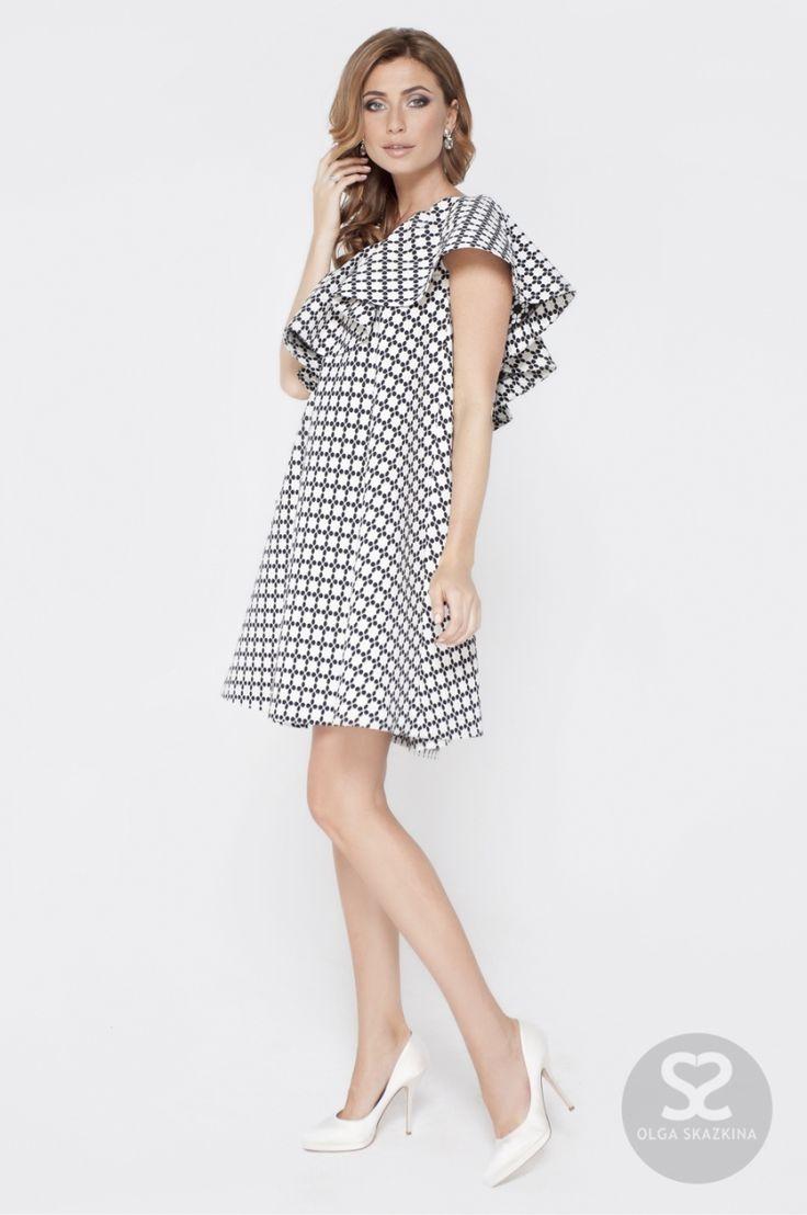 Стильное платье с воланом на одно плечо   Skazkina