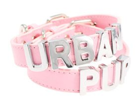 Pink Leather Personalised Dog Collar (Chrome Letters) | Yorkie Clothes from Yorkies Only