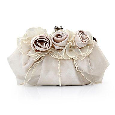 Femme Satin Soirée / Fête Sac de soirée Blanc Rose Marron Rouge Argent - USD $ 8.64