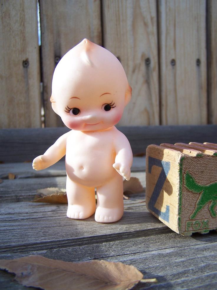 Vintage Toy , Kewpie Style Doll Molded Plastic , 1970s