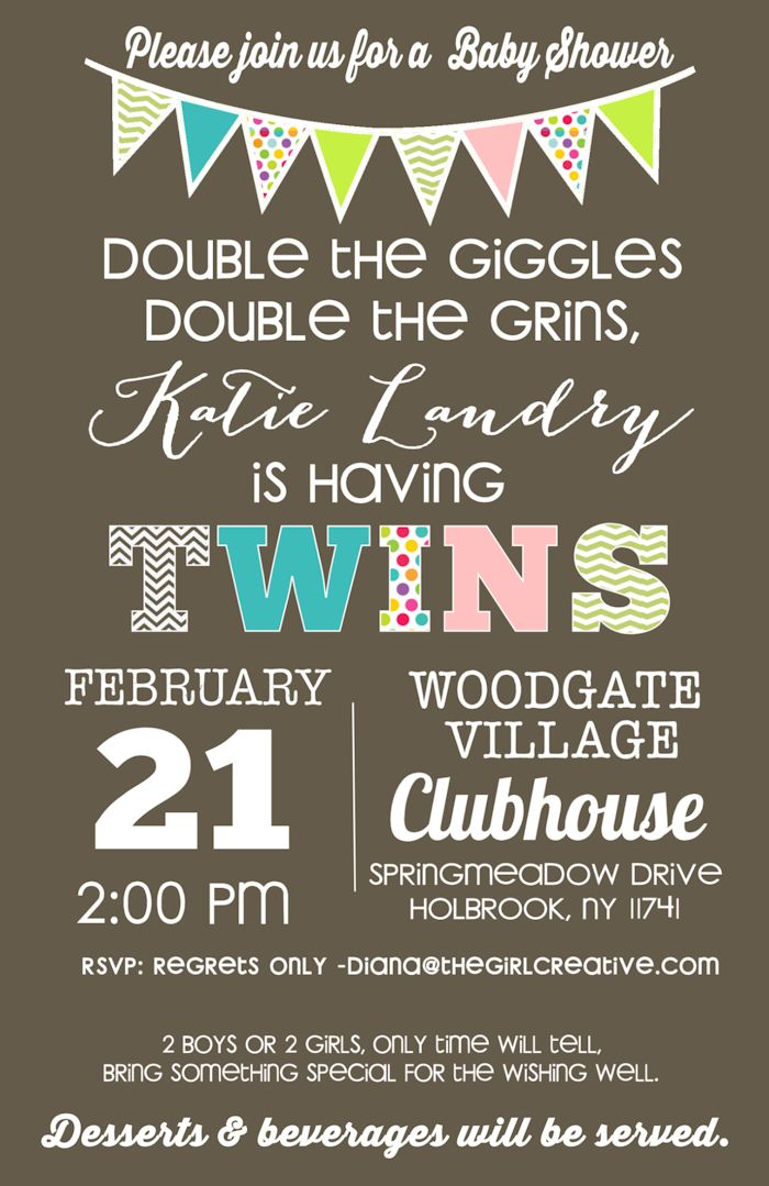Baby Shower invitation idea for twins, Cute sayings for twin baby shower invitation