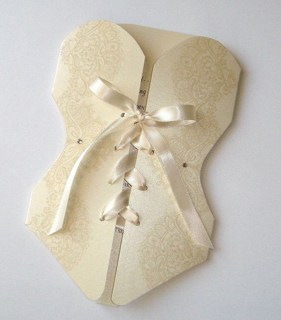 Totally gonna make these myself!! 25 - Lingerie Corset Bridal Shower or Bachelorette Party Invitations - Creme, Ivory, Gold on Etsy, $106.25