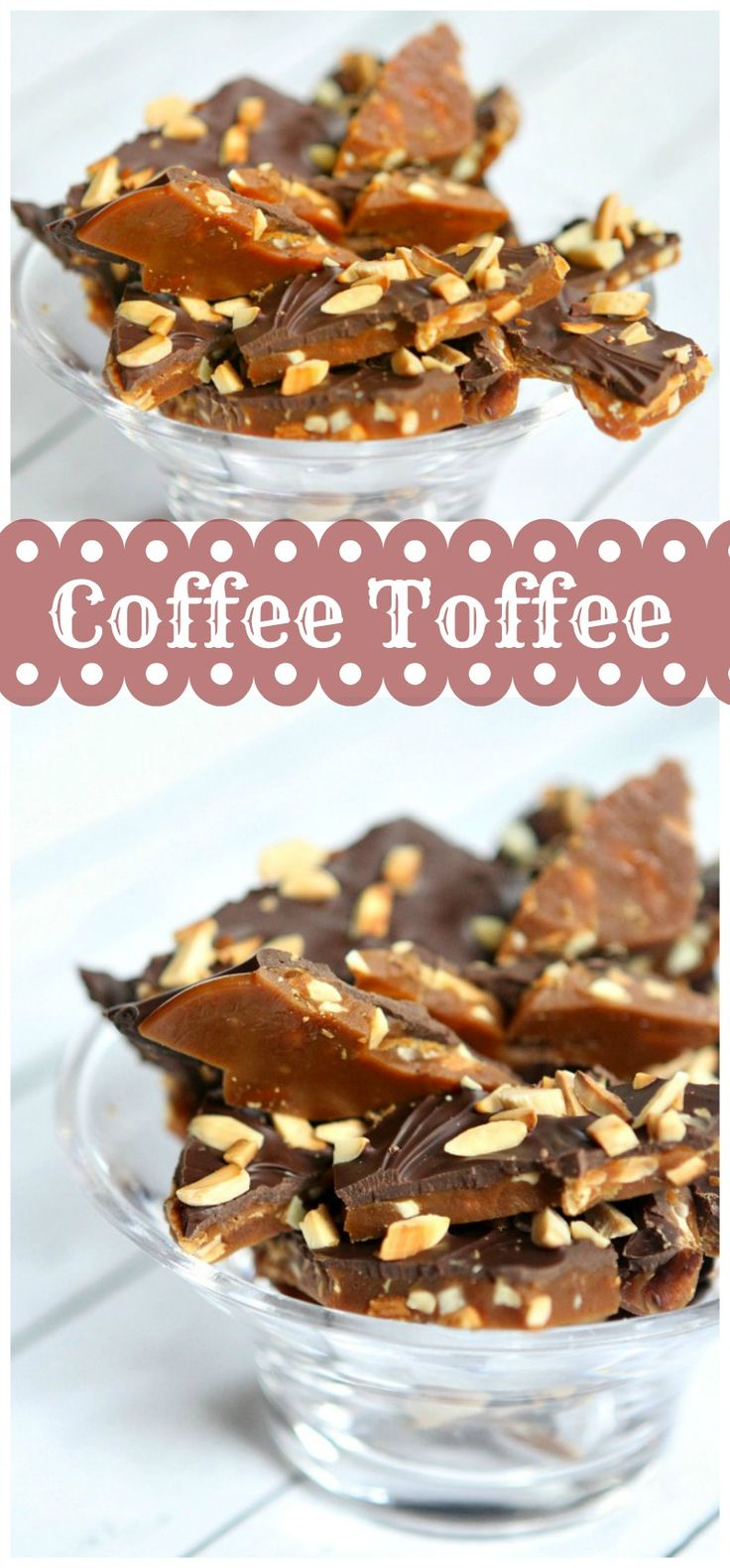 Coffee Toffee : a classic chocolate-almond toffee recipe with a hint of coffee flavor.