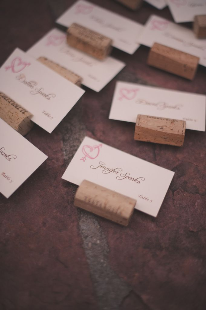 Name Place Cards out of wine corks. Beautiful Burlap & Lace ~ Castle Wedding Inspiration Marlowe-Lane.com