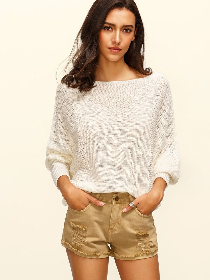 Beige Batwing Sleeve Knitted T-shirt