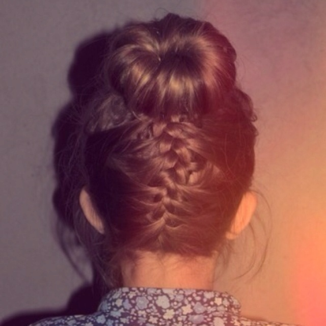 Braid+Sock Bun=Easy School Style!