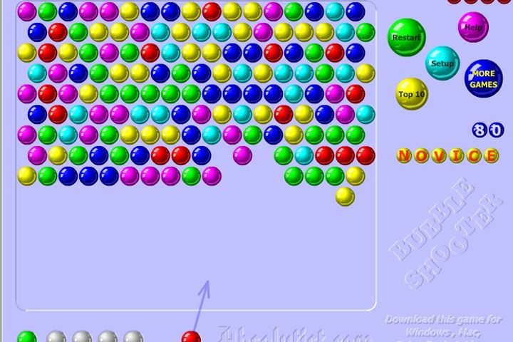 Puzzle Bubble is without charge and online. This game requires careful aim to pop bubbles correctly.  (This site has not been given trust by some supervisors) *This site will not function properly on most school and work computers*
