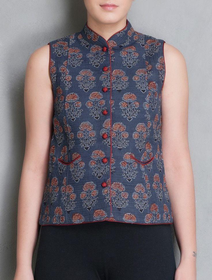 Buy Indigo-Red Ajrakh Printed Cotton Sleeveless Jacket Online at Jaypore.com