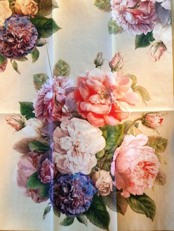 THREE (3) Roses-Flowers Paper Hostess Napkins for Decoupage and Paper Crafts