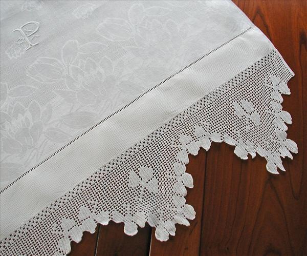 Damask Towel Shamrocks Filet Crochet Lace Monogram P