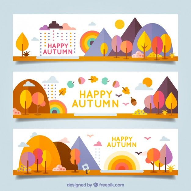Colorful happy autumn banners