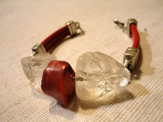 Christmas womens' gift idea.  Handmade quartz coral and leather bracelet.  Click to see more.