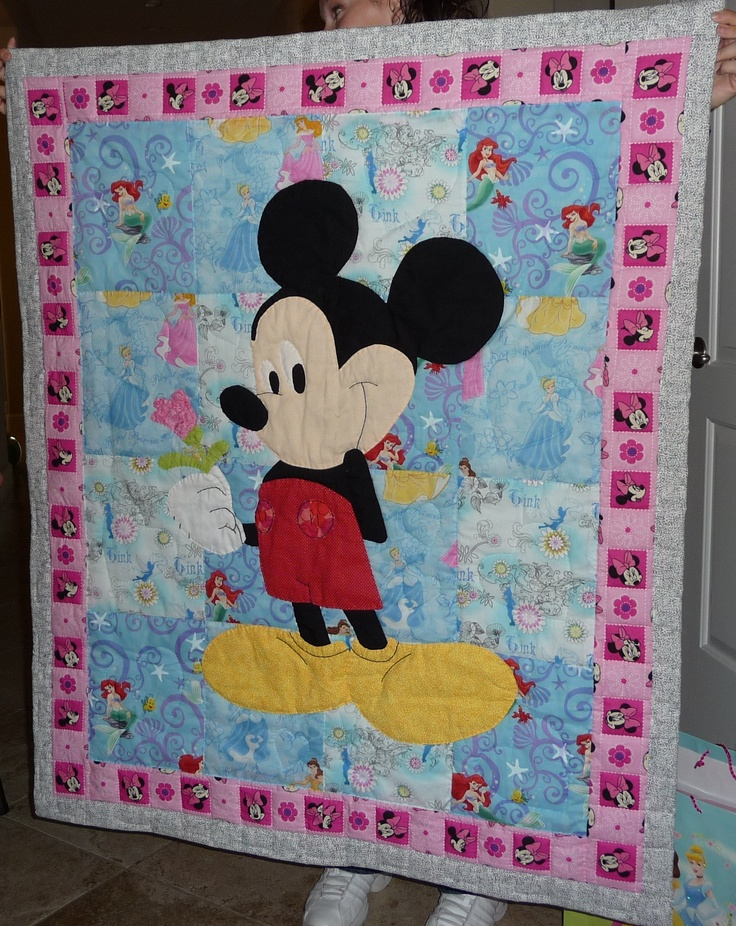 Mickey mouse pieced quilt.