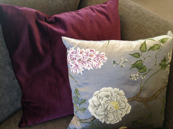 Beautiful Sanderson silk and velvet cushions.