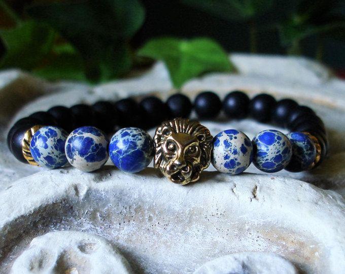 Men's Strength and Power Bracelet - Matte Black Onyx - Lion - Sea Sediment Jasper - Black and Blue Bracelet  C 548