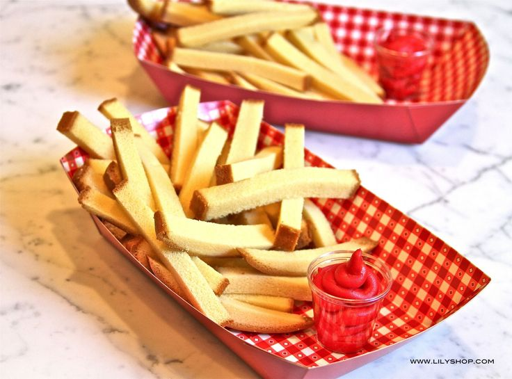 """What a cute idea. Pound cake """"fries"""" with """"ketchup"""" frosting. July 4th or Any other day!"""