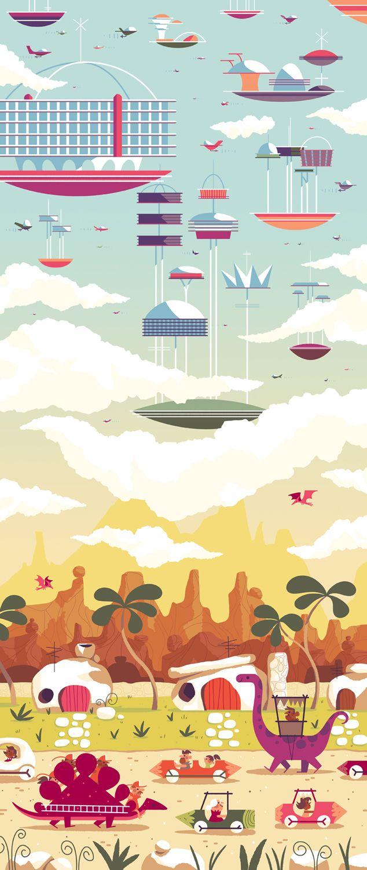 Imaginative Illustrations Cleverly Merge Cartoon Worlds - My Modern Metropolis