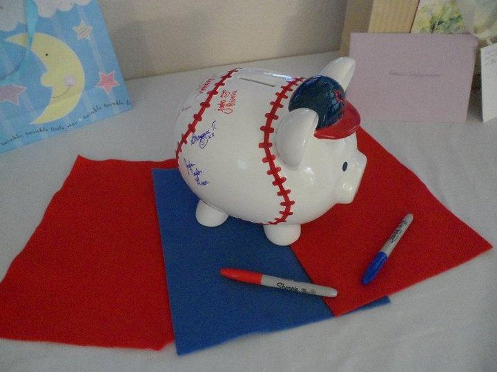 Cute Baby Shower guest book idea - Piggy Bank!! (plain color, not sports)