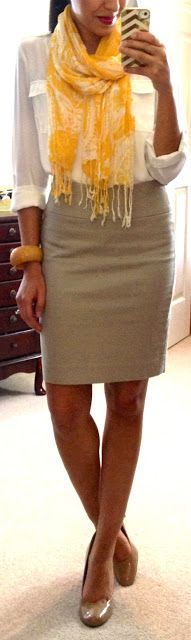 Neutral Pencil Skirt,  White blouse,  Yellow scarf.  Nude heals & yellow bangles for accessories.