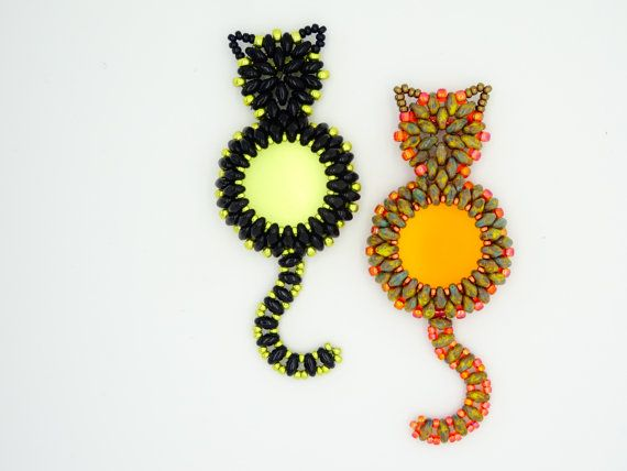 Tutorial Superduo CAT Pendant. Pattern to von ButterflyBeadKits