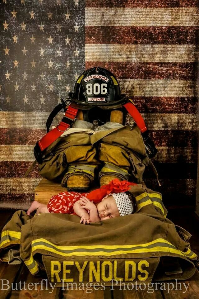 Butterfly Images Photography www.butterflyimages.zenfolio.com Newborn baby girl fire fighter shoot