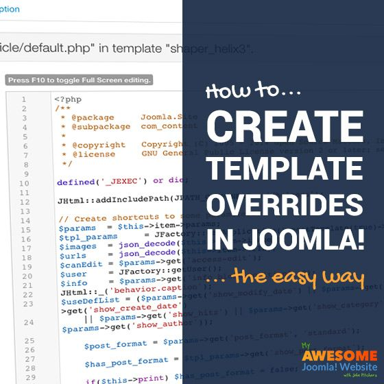 How to create template overrides in Joomla... the easy way