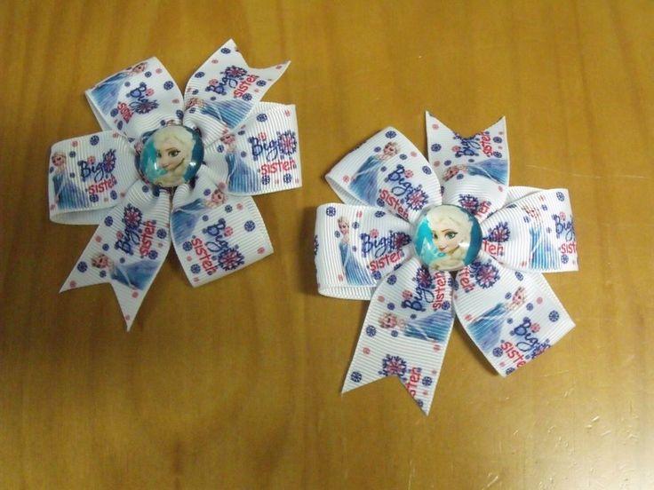 "Frozen Elsa Handmade Boutique Pinwheel Hair Bow 3.5"" - USA Seller - Big Sister #Handmade"
