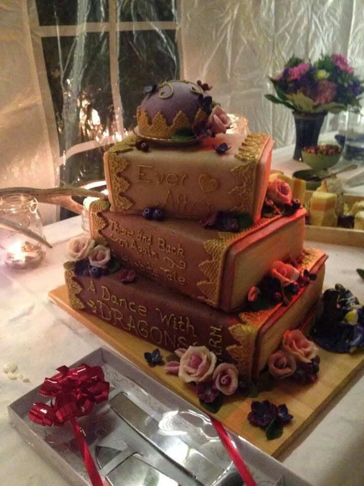 The cake. Made by myself, with blackberry and orange fillings, and marcipan decorations.