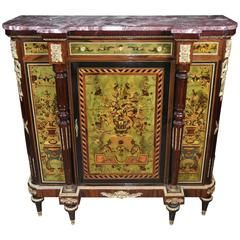 French Painted Empire Cabinet Chest Credenza Vernis Martin