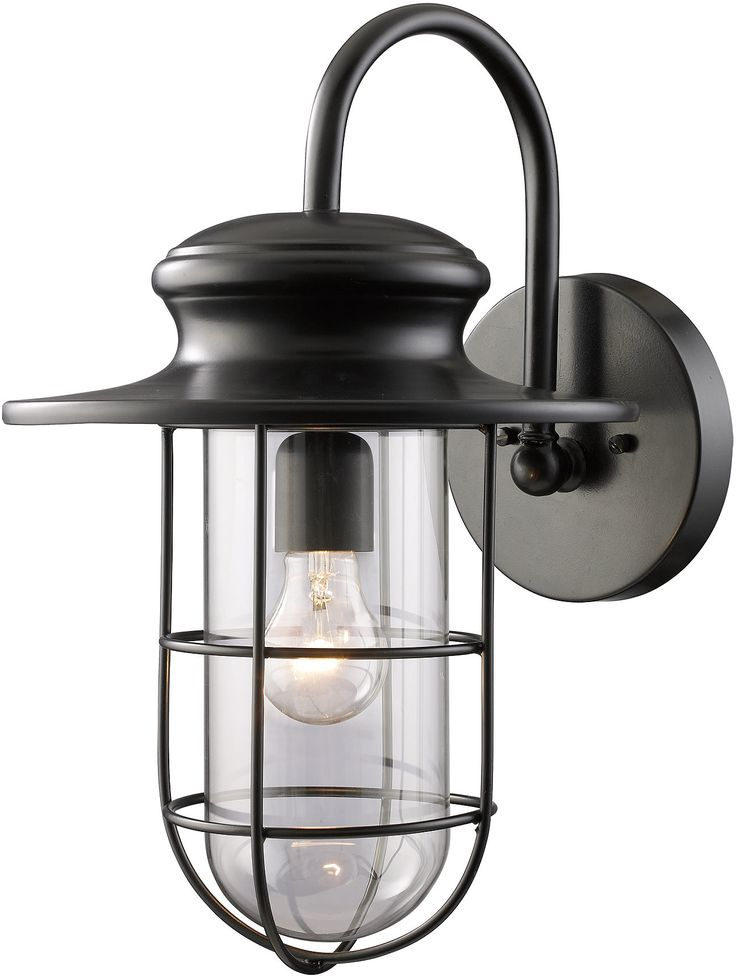"0-001265>18""h Portside 1-Light 17'' Outdoor Wall Sconce Matte Black with Transparent Glass"