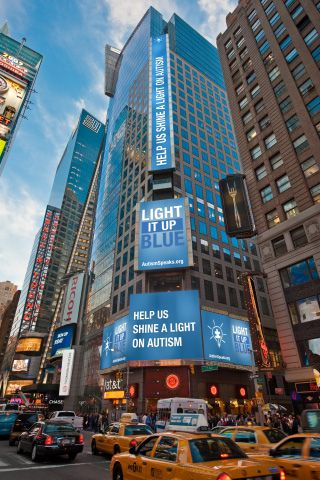 Thomson Reuters Building - Times Square, NYC Light It Up Blue - My office building in the spirit of Autism Speaks