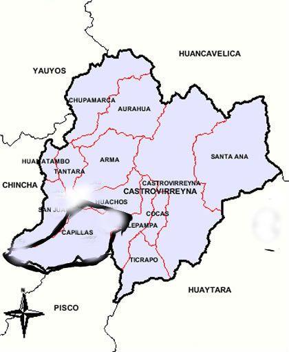 mjh.Ubicación de mi distrito Capillas en la provincia de Castrovirreyna.Comunidad Cochapampa-Capillas.