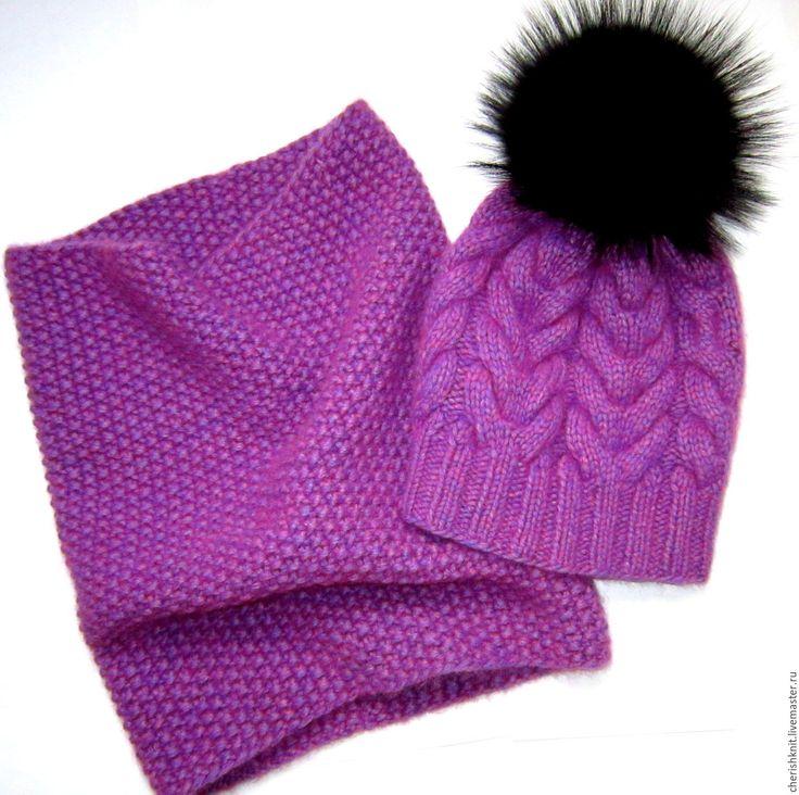 Купить Комплект сирень снуд и шапка с помпоном черный енот - сиреневый, орнамент, комплект вязаный