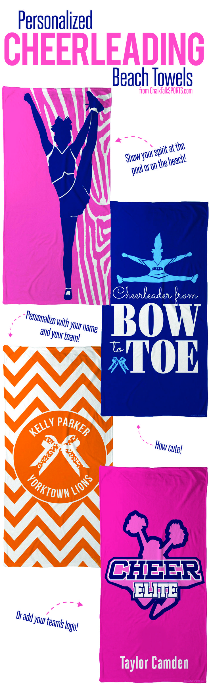 Show your cheer spirit at the pool or on the beach with our personalized cheerleading towels from ChalkTalkSPORTS.com!