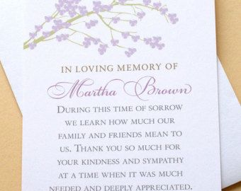 Sympathy Thank You Cards with a Branch of Purple Blossoms - Personalized - FLAT Cards
