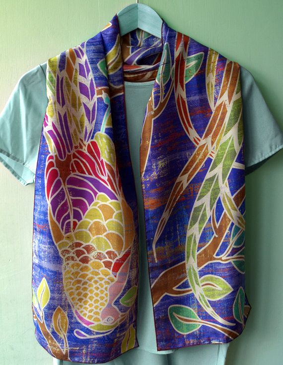 Cobalt Blue Silk Scarf, Peacock, Lightweight Silk Scarf. Statement Scarves. Summer Accessories, Gifts for Her.