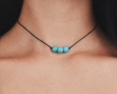 Turquoise beads choker necklace,3 Turquoise beads, Black cord, Minimalist design, Delicate, Dainty,Trendy, Everyday, Affordable,Gift for her by BluePinkJewelry on Etsy