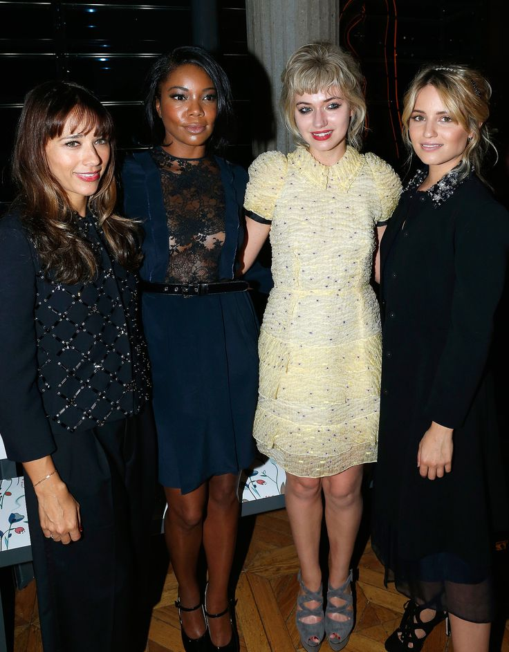 Rashida Jones, Gabrielle Union, Imogen Poots, and Dianna Agron posed together before Wednesday's Miu Miu show.