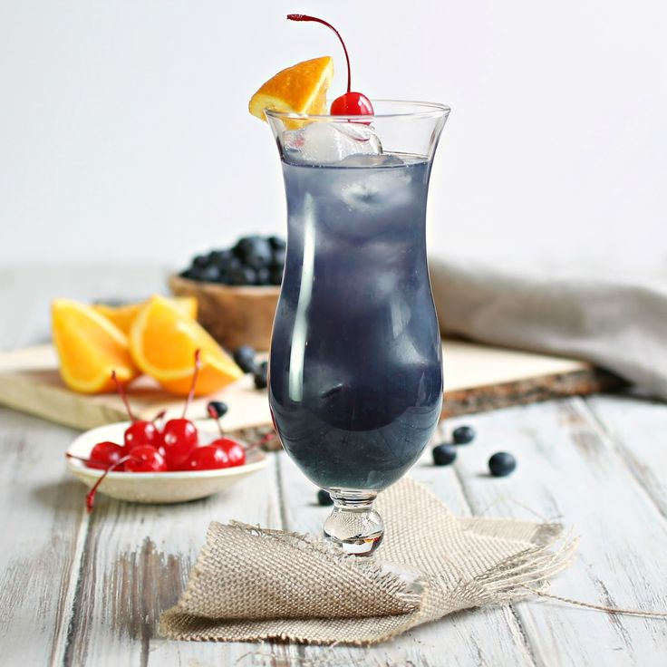 Blue Hurricane Cocktail