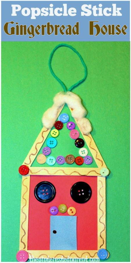 Popsicle Stick Gingerbread ornament - An easy Christmas craft for kids of all ages.