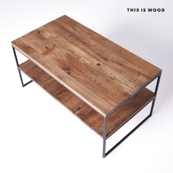 stolik kawowy z drewna dębowego na na nogach ze stali malowanej proszkowo