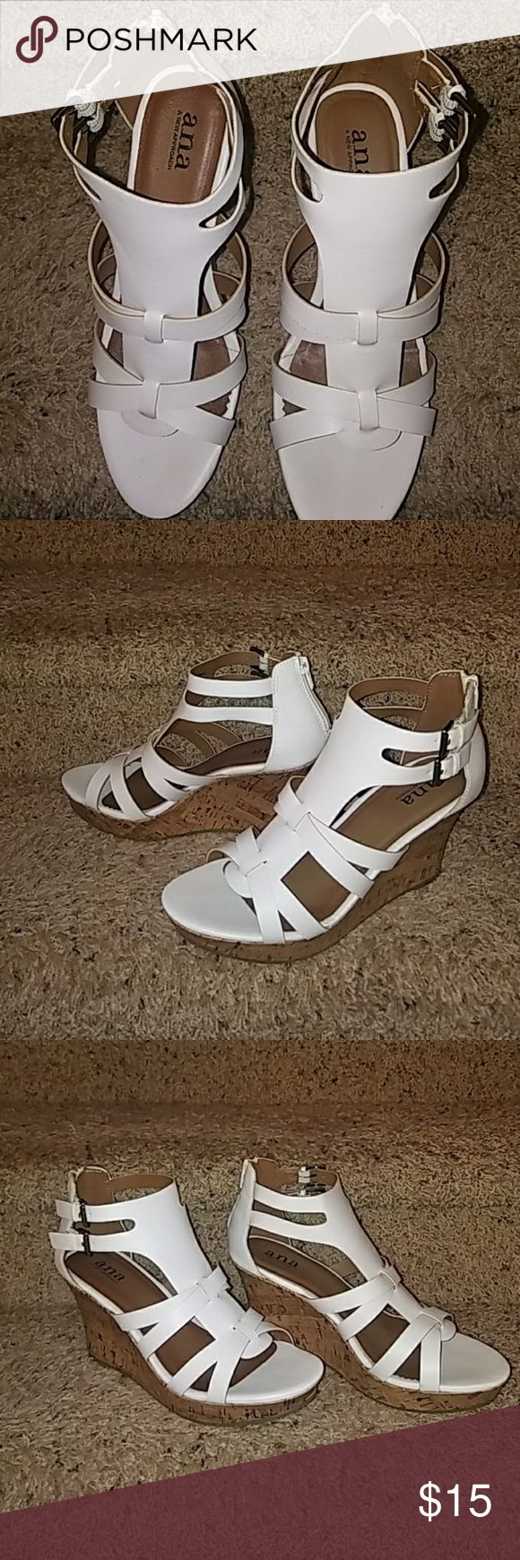 """NWOT- white wedge sandals NWOT- white wedge sandals. Never worn. Wedge is 3 3/4"""" high. a.n.a Shoes Wedges"""