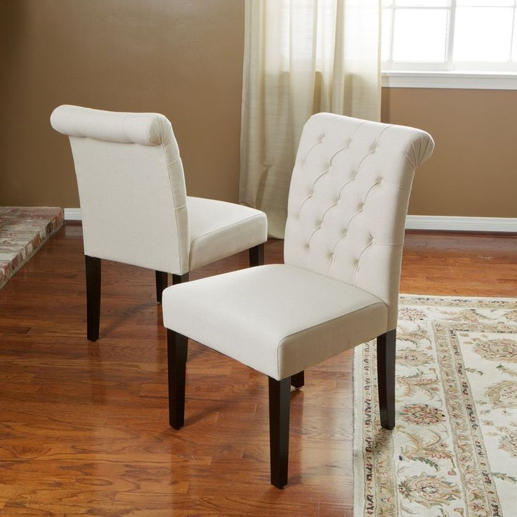 Set Of 2 Elegant Roll Back Tufted Linen Upholstered Armless Dining Chairs GreatDealFurniture