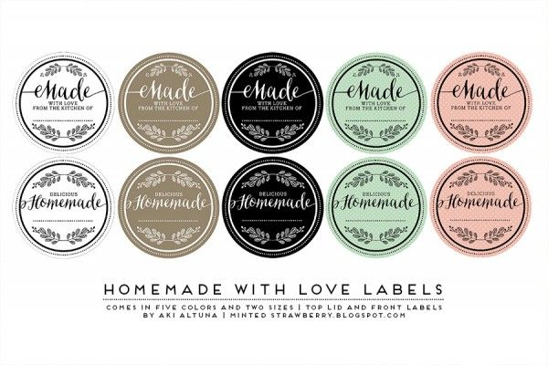 3rd place winner of the World Label Mason Jar Label contest are these awesome Made (with love) labels.  So pretty (and great for gift giving) and they are available for free download at this link.  Designed by Kimberly Altuna